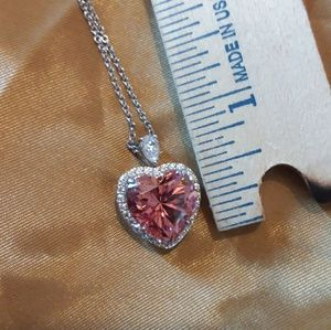 Jewelry - Pink Cubic Zirconia Heart Necklace